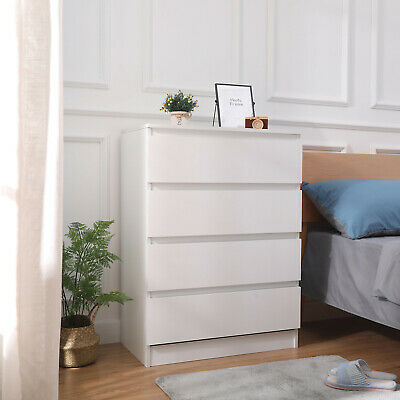 Modern Bedside Table Cabinet Chest of Drawers Nightstand Bedroom Furniture White