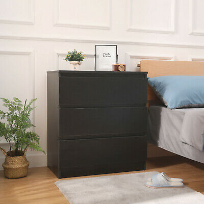 Modern Bedside Table Cabinet with 3 Drawers Black Nightstand Bedroom Furniture