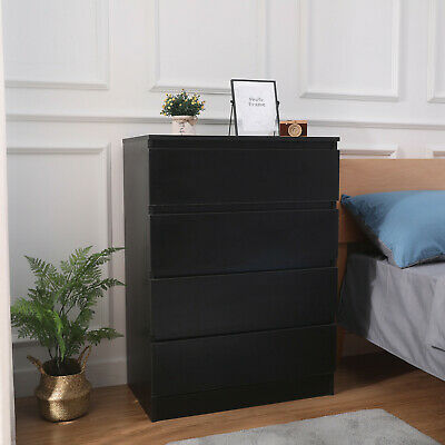 Modern Bedside Table Cabinet Chest of Drawers Nightstand Bedroom Furniture Black