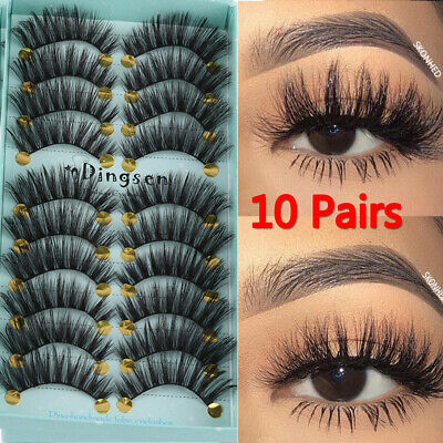 355405f1182 DINGSEN 10 Pairs 3D False Eyelashes Wispy Fluffy Natural Long Lashes  Handmade-