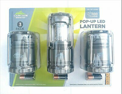 3 Pack Cascade Mountain Tech LED Indoor/Outdoor Collapsible Lantern 100 Lumens
