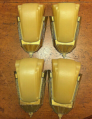 4 Genuine Art Deco Vintage Wall Light Sconce Slip Shade 1920 - 30s + Spare Glass
