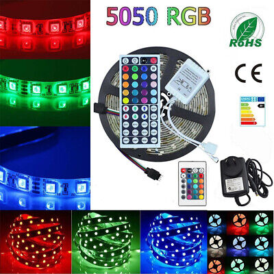 1-30M RGB LED Strip Light Flexible Lighting 12V SMD 5050 IR Controller Adapter