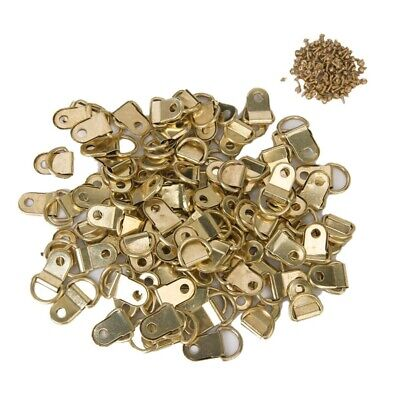 100 PCS Longer D-Ring Picture Frame Hangers Single Hole with Screws O7R3