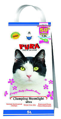 Pura Moonlight Ultra Clumping Cat Litter Baby Powder 5lt Cat Litter Damaged