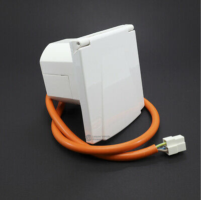 White Pre-Wired Mains Inlet Electric Campsite Hook-up 3-pin Caravan Motorhome VW