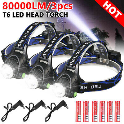 3X LED Headlamp Rechargeable lights Head Torch CREE 21000LM XML T6 Lamp Camp