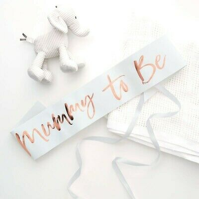 Mummy to Be Sash Baby Shower Rose Gold Foiled & White TwinkleTwinkle Ginger Ray