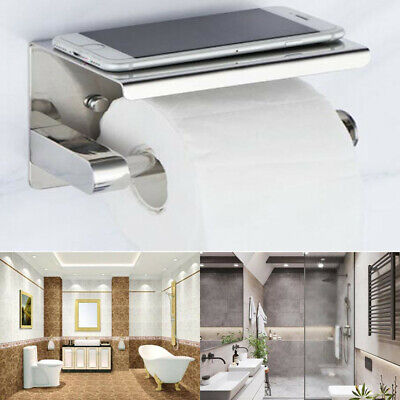 Stainless Steel Self Adhesive Loo Toilet Roll Paper Holder&Mobile Phone Holder A