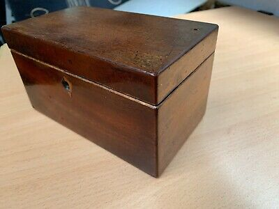 Early Victorian Antique Mahogany Tea Caddy Box Dated 1845