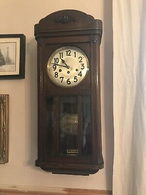 Vintage Wooden Wall Clock Working Traditional Chimes