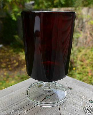 Vintage Luminarc Arcoroc France Ruby Red Water / Wine Glass With Clear Stem
