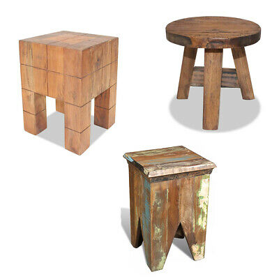 Wooden Stools Home Kitchen Small Handmade Retro Furniture Solid Reclaimed Wood