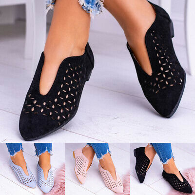 Women Ladies Flat Loafers Slip On Summer Casual Work Comfy Pumps Shoes Size 4-8