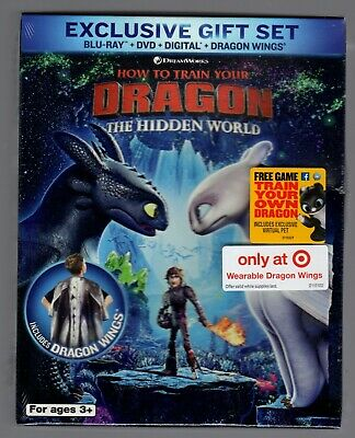 How to Train Your Dragon: The Hidden World Target Gift Set wings Blu-Ray DVD Dig