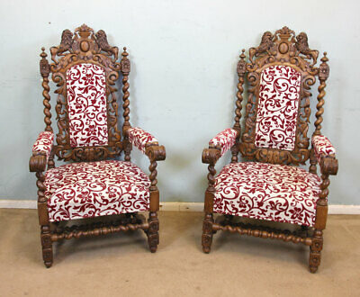 Pair Antique Carved Oak Chairs, Victorian Jacobean Style Armchairs