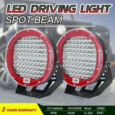 Pair 9inch 99999W LED ROUND Driving Spot Work Lights Offroad SUV Spotlights