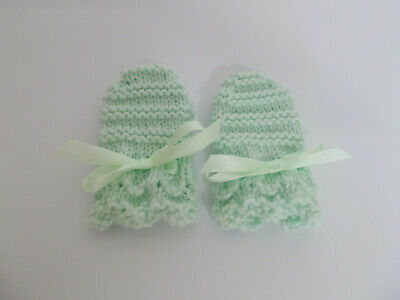 Hand Knitted Baby Mittens Ribbon Tie Mint Green Sparkle Baby Girl 0-3 Months