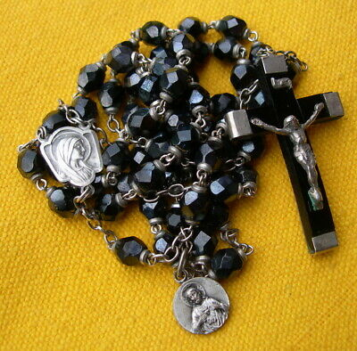 circa 1950 METAL AND IRIDESCENT BLACK GLASS BEADS ROSARY of OUR LADY OF LOURDES