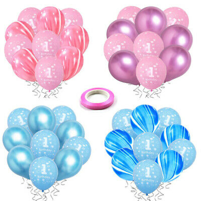10Pcs Chrome Metallic Agate Balloons 1st Birthday Baby Shower Party Decoration