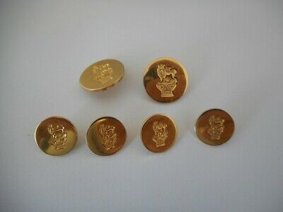 Vintage HM 1970 SILVER GILT Military Studs or Buttons - Lion on Crown Decoration