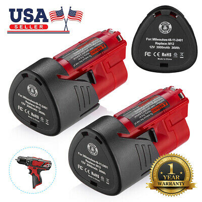 2X 12V Lithium Battery For Milwaukee 48-11-2401 M12 Fuel Impact Drill 3.0AH