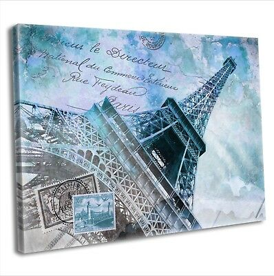 Paris Eiffel Tower Abstract Canvas Print Framed Wall Art Travel Picture Blue