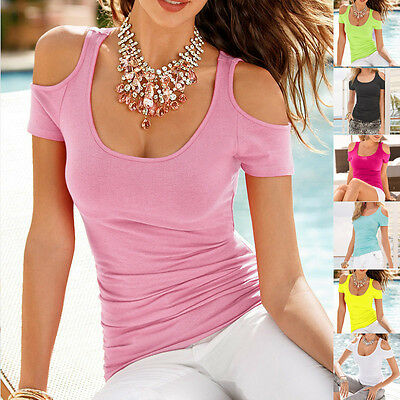Women Casual Sexy Short Sleeve T-Shirt Off the Shoulder O-Neck Slim Top Tees