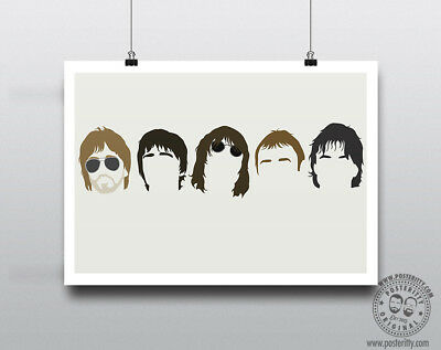 OASIS  Minimalist Band Poster Silhouette Music Heads Minimal Noel Liam Gallagher