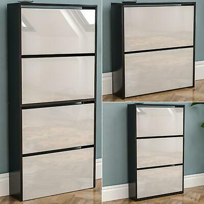 Welham 4 3 2 Drawer Mirrored Shoe Cabinet Cupboard Storage Footwear Black