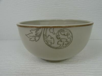Orchard Harvest by BonJour Soup Cereal Bowl Grey Vines Fruit Motifs Tan Trim