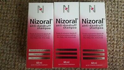 3 x Nizoral Anti Dandruff Shampoo 60ml BNIB UK Seller free postage