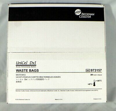 Beckman Coulter 973157 UniCel DxI 800 Imunoassay Solid Waste Bags Box of 20