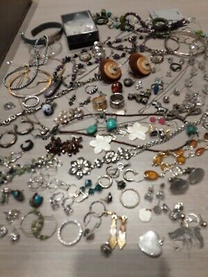490 g sterling silver jewelry lot, pre owned, wearable, all stamped, beads,