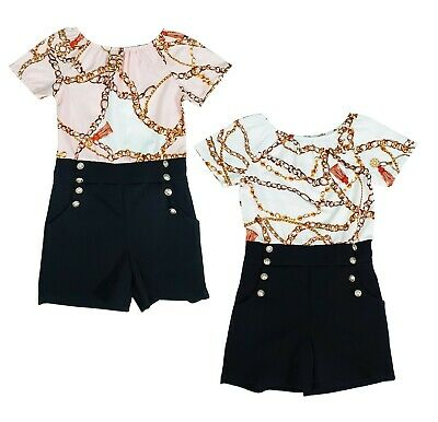 Kids Girls Summer Chains Printed Party Outfit Playsuits Jumpsuits Romper Shorts