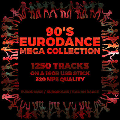 USB - 90's Eurodance Mega Collection - 1250 Tracks On 16GB USB 320 MP3 Eurohouse