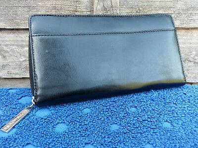 Warehouse Womens Leather Purse Money Notes Credit Card Coin Compartment Black