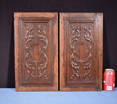 *Pair of Antique French Hand Carved Oak Wood Panels Highly Detailed Salvage