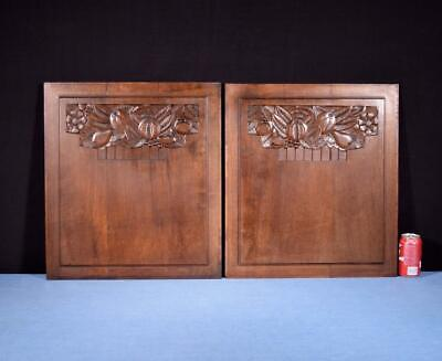 *Pair of French Art Deco Hand Carved Panels in Walnut Wood Salvage