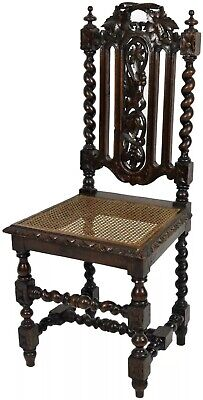 19th Century Carved Oak Carolean Style Chair with Bergere Seat