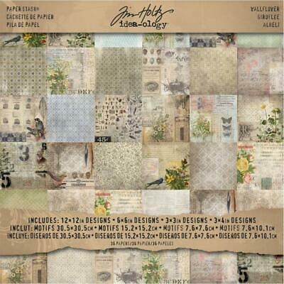 Tim Holtz Idea-Ology Surfaces - Paper Stash 12x12 - Wallflower - 36 Sheets