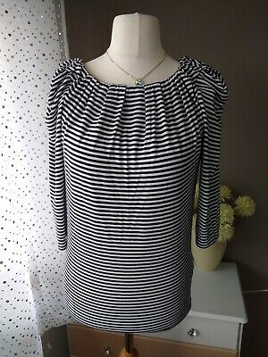 0693add532e2 Ted Baker Black And White Striped Top Bow Tie Back Modal Eco Fabric Size 12