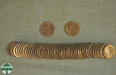 1954-S Lincoln Wheat Cent - Uncirculated - Roll Of 50