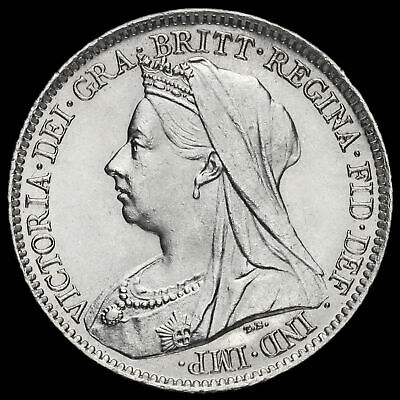 1901 Queen Victoria Veiled Head Silver Sixpence, BU #2