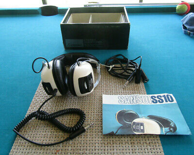 Vintage 1970's Sansui SS-10 White - 2 Way Stereo Headphones W/ Case  TESTED