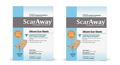 "Lot 2 ScarAway Silicone Scar Minimizing Sheets 1.5"" x 3"" 4 Reusable 2 Mos Supply"