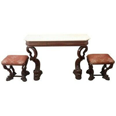 19th Century Italian antique Mahogany Carved Marble Top Console Table  TwoStools