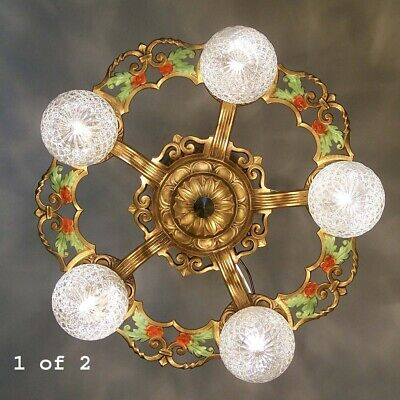 457 Vintage Antique aRT Deco Slip shade Ceiling Light lamp fixture chandelier