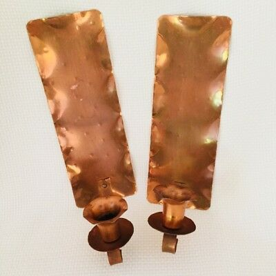 2 Glencroft Copper Wall Sconces Candle Hand Hammered Pair Candleholders Roycroft