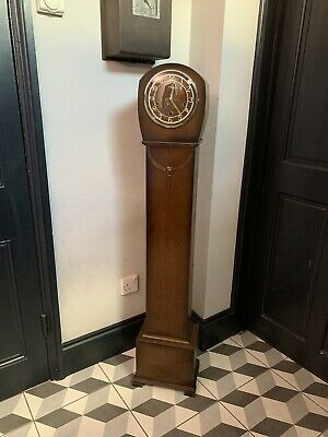 Vintage Smith's Enfield Grandmother Clock Westminster Chimes & Key 132 x 23 x 16